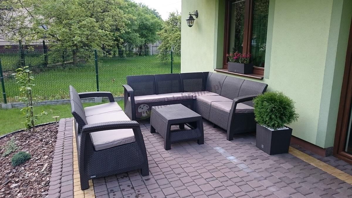 Allibert meble ogrodowe Corfu brązowe narożnik i sofa