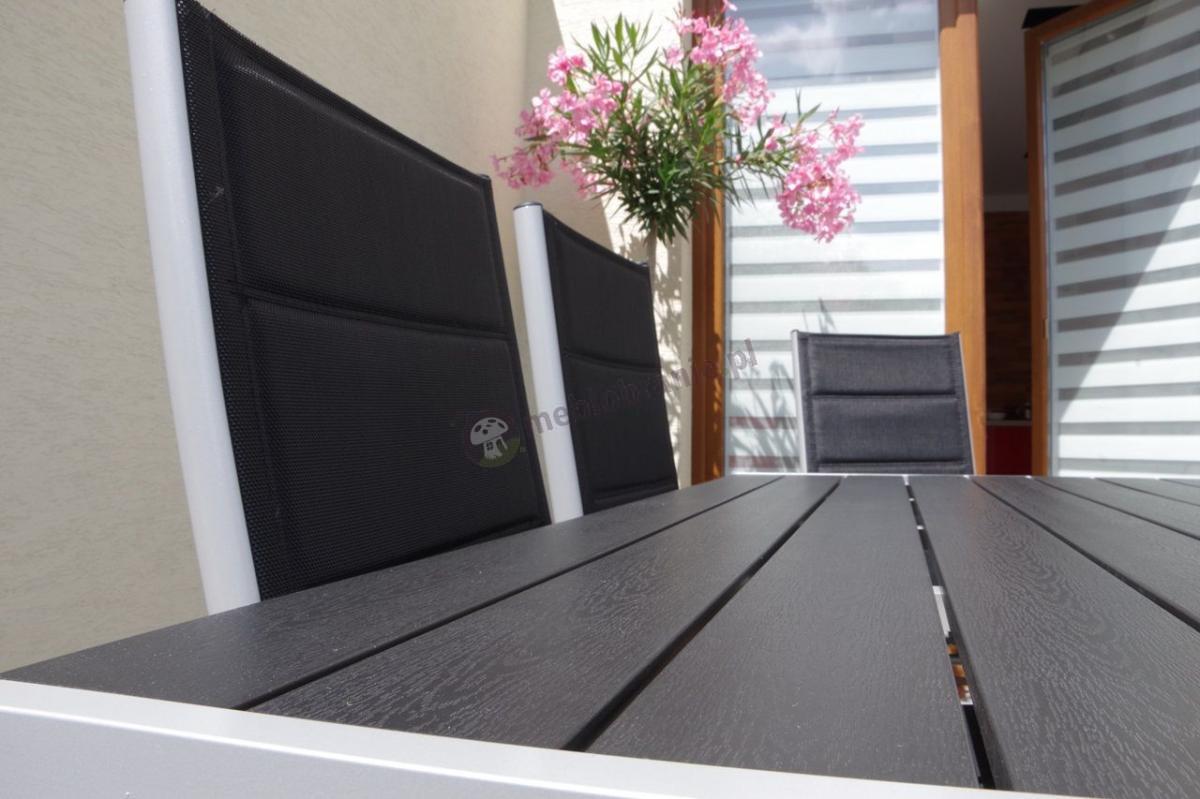 Aluminiowy zestaw ogrodowy Sydney Silver ze stołem polywood