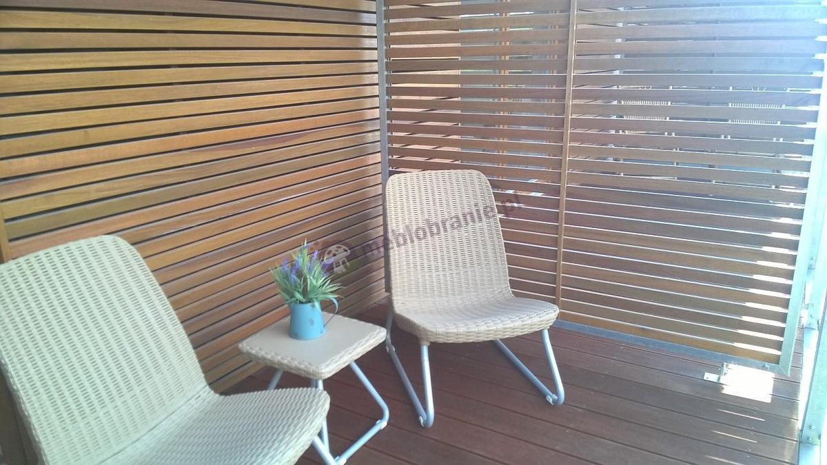 Balkonowe meble ogrodowe Rio Patio Keter piaskowe