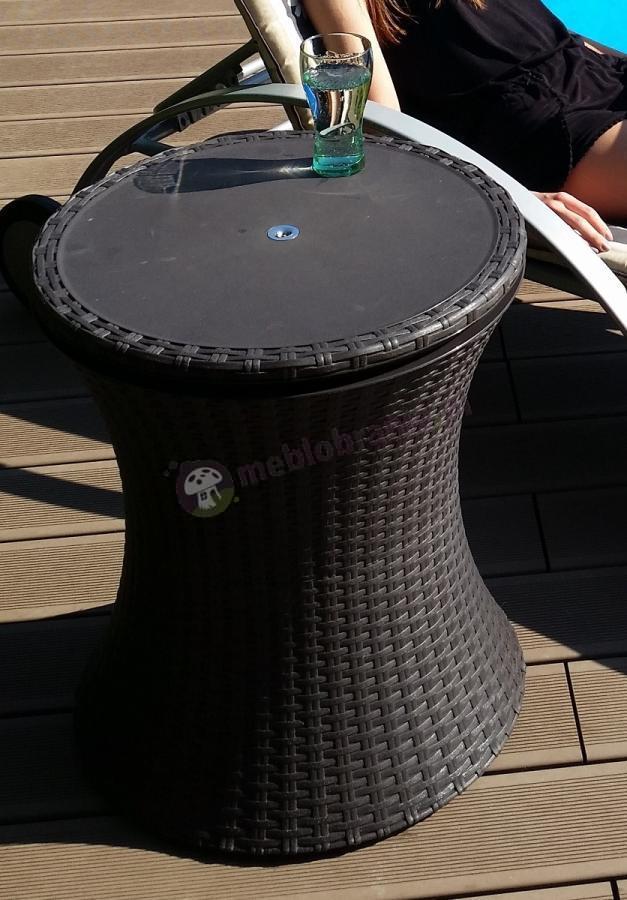 Barek ogrodowy plastikowy rattan efekt brązowy