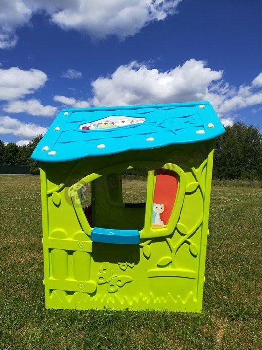 Bezpieczny domek ogrodowy dziecięcy w jaskrawej zieleni i niskiej cenie Keter