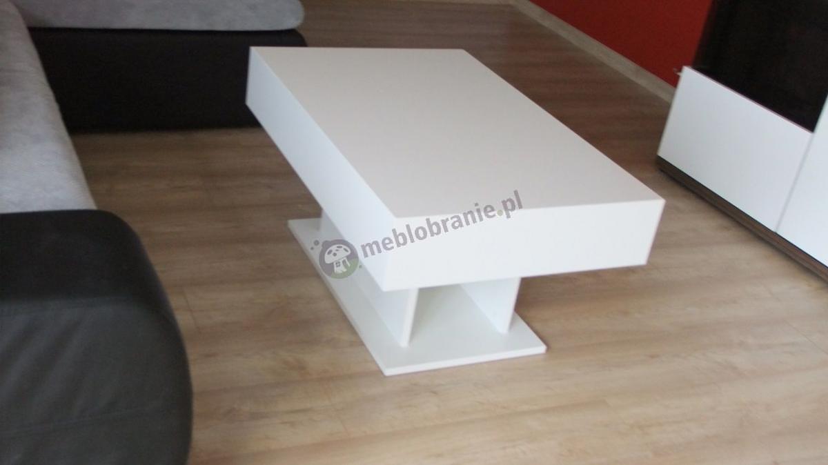 Biała ława stolik do salonu na wysoki połysk