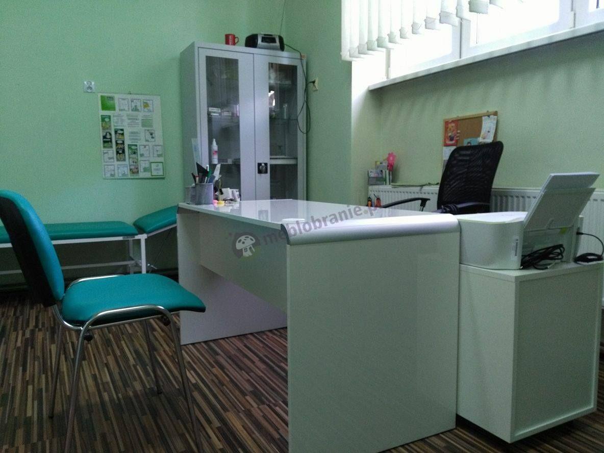Białe biurko gabinetowe stylowe z kontenerkiem Murano 130