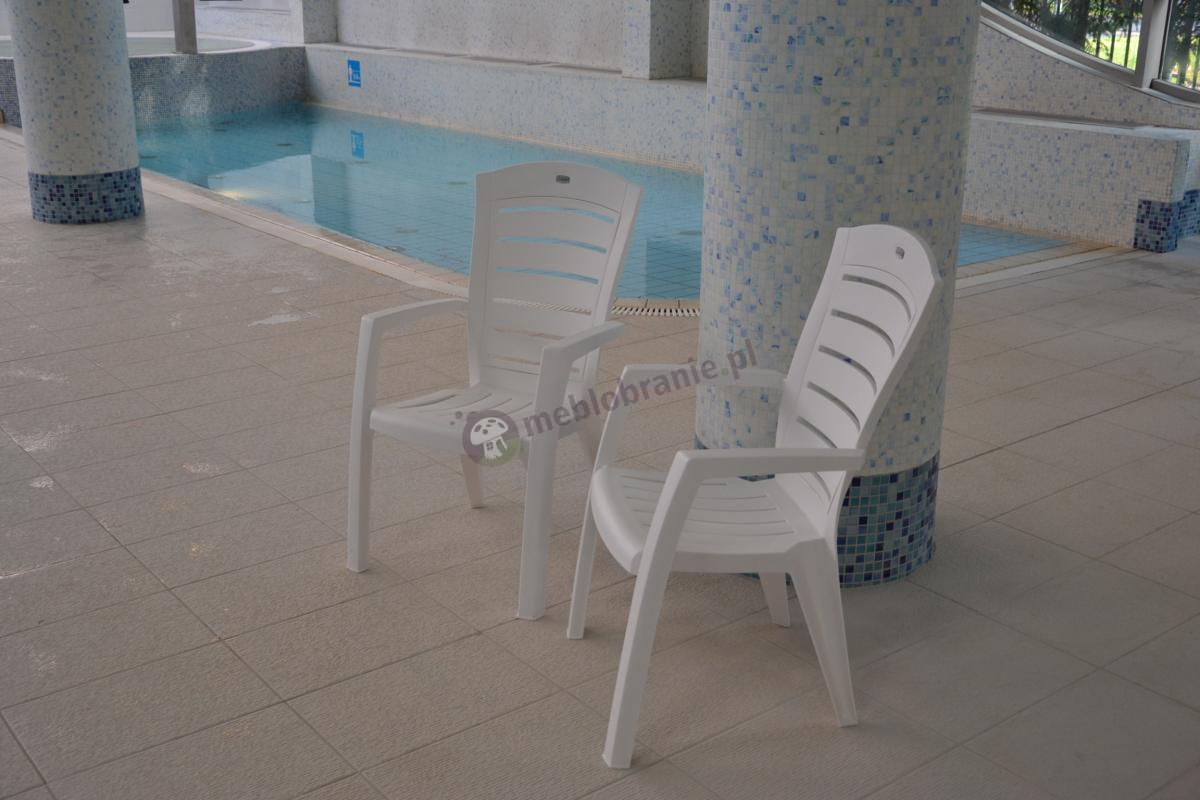 Białe krzesła na basen Larisa stojące w parze