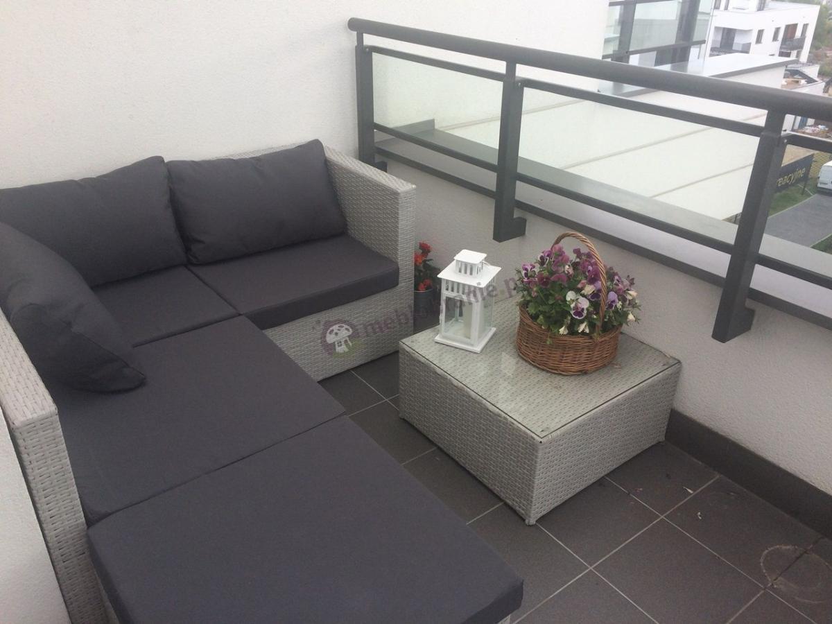 bia e meble na ma y balkon naro nik ogrodowy z szarymi poduszkami farlito aran acje. Black Bedroom Furniture Sets. Home Design Ideas