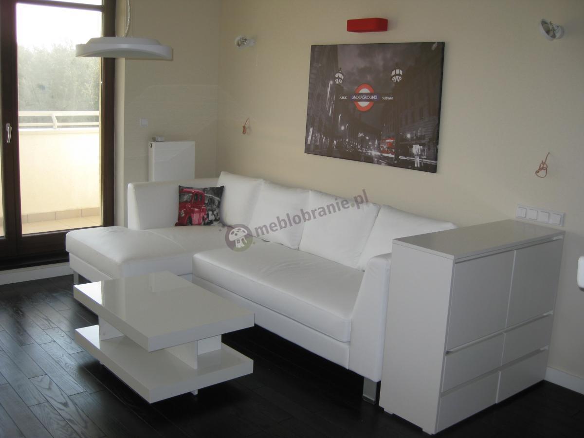 Białe meble zestawione z czarną podłogą w dziennym oświetleniu