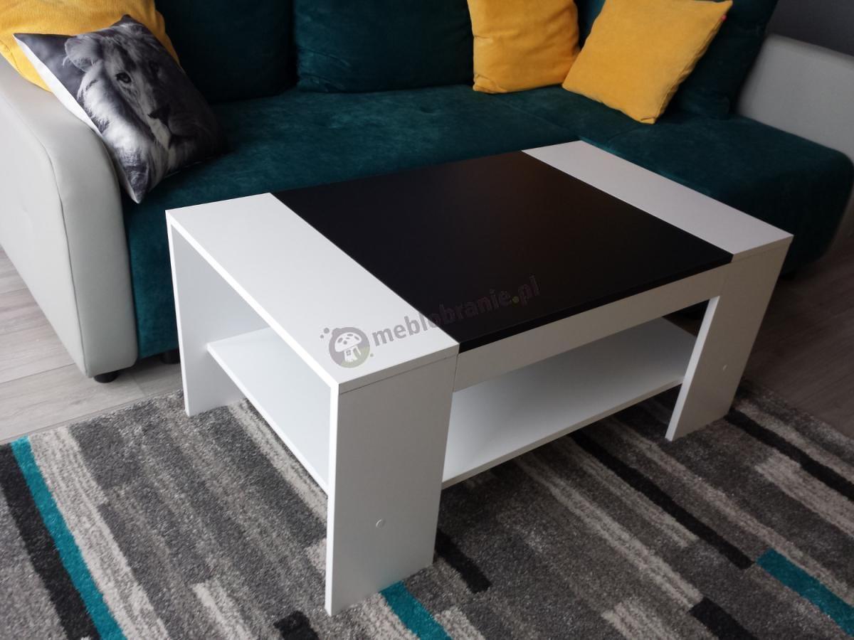 Biało czarny stolik domowy Piano