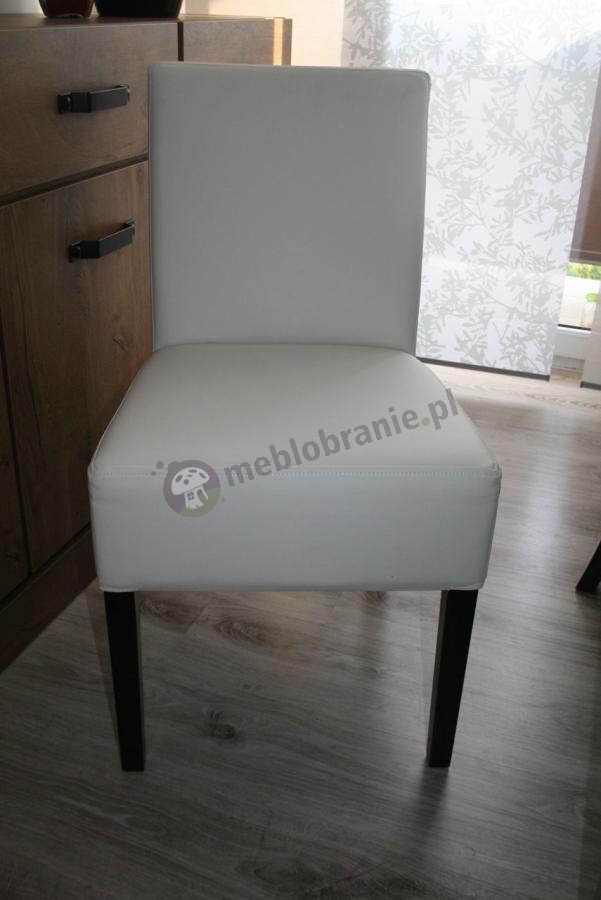 Biały fotel tapicerowany skórzany prosty z oparciem