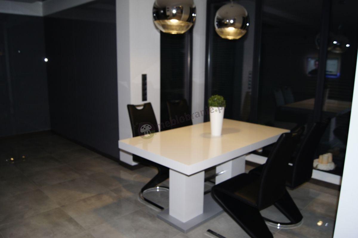 Biały stół do salonu wysoki połysk