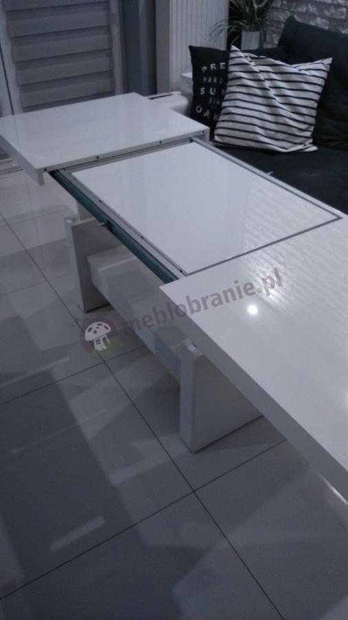 Biały stół rozkładany do salonu Aversa