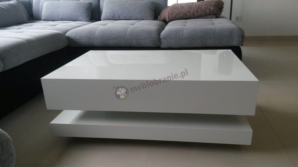Biały stolik do salonu rozmiar 90 cm