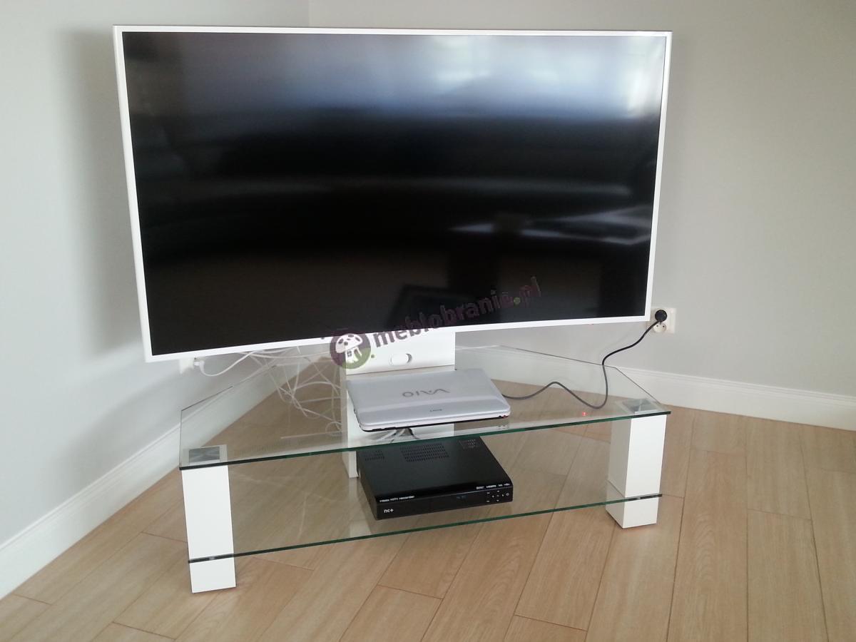 Biały stolik RTV ze szkła Lugano