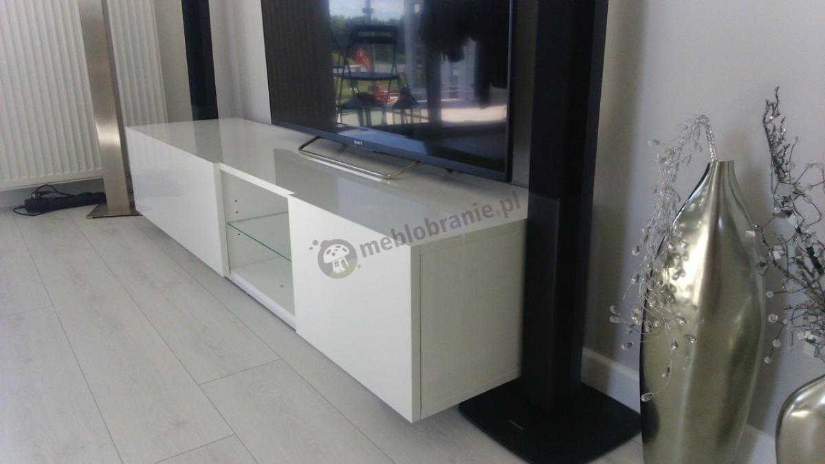 Biały stolik RTV ze szklaną półką na telewizor szafka Liana