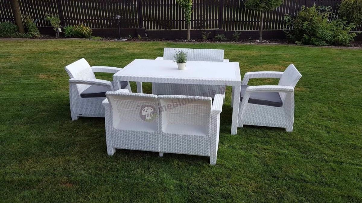 Biały zestaw dla 6 osób z wysokim stołem ogrodowy Keter Corfu Fiesta
