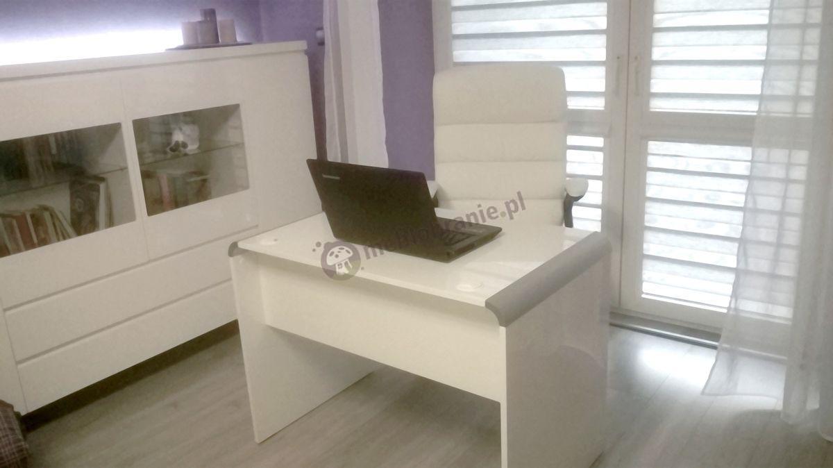 Biurko gabinetowe białe w eleganckim biurze