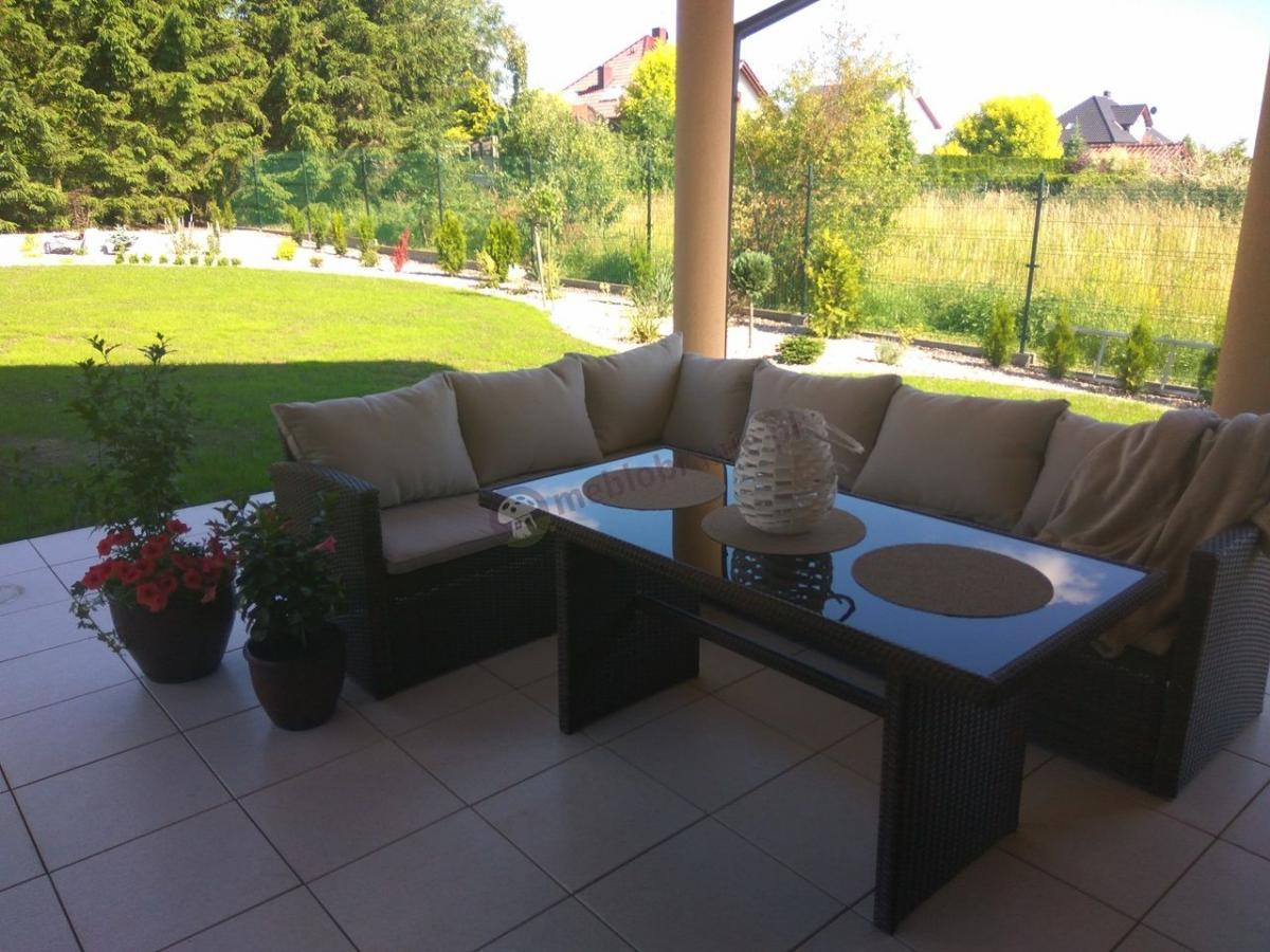Brązowa sofa narożna technorattan do ogrodu z wysokim stołem Caprice Brown