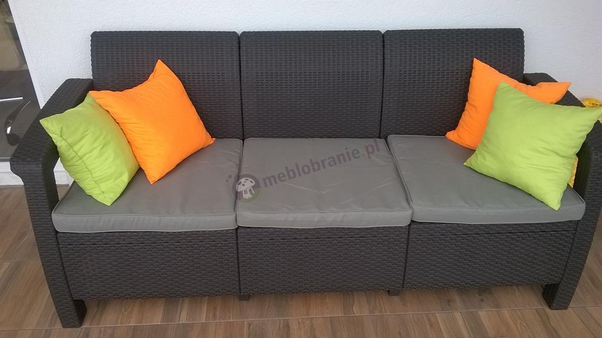 Brązowa sofa technorattanowa Corfu Love Seat Max