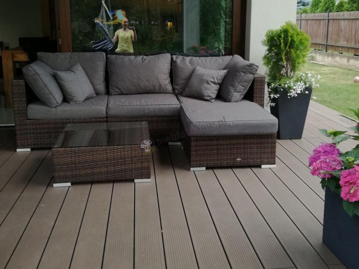 Brązowy narożnik ogrodowy z szarymi poduszkami zewnętrzny Nilamito