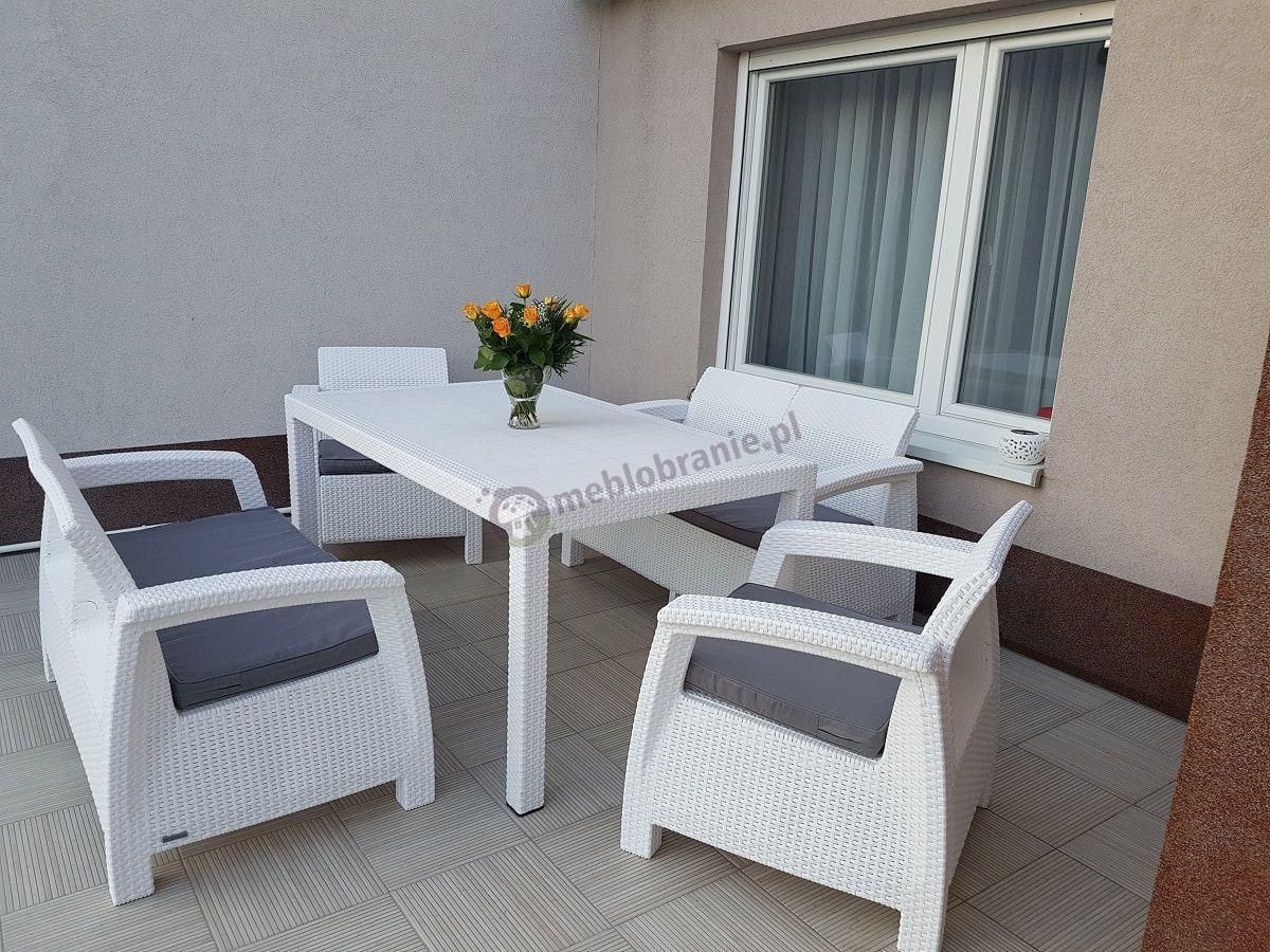Corfu Fiesta II biały komplet z szarymi poduszkami