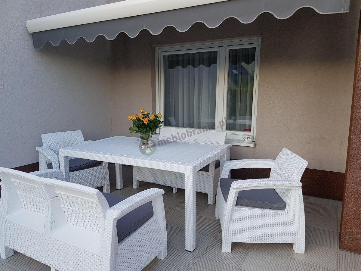 Curver Corfu Fiesta 2 biały z szarymi poduszkami