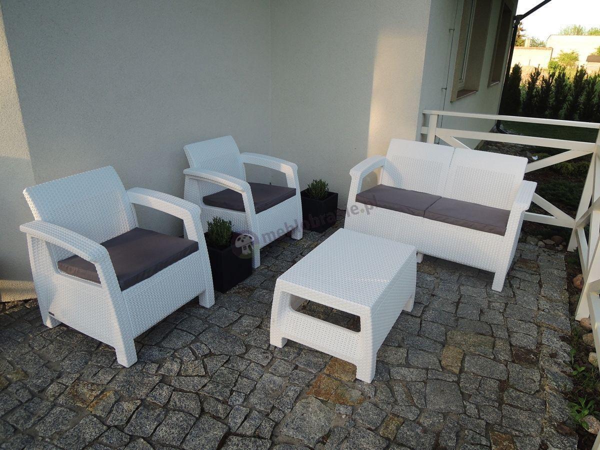 Curver Corfu Set biały z szarymi poduszkami