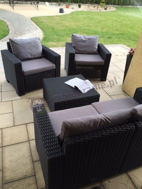 Czteroosobowy komplet ogrodowy Rattan Style z poduszkami na oparcie