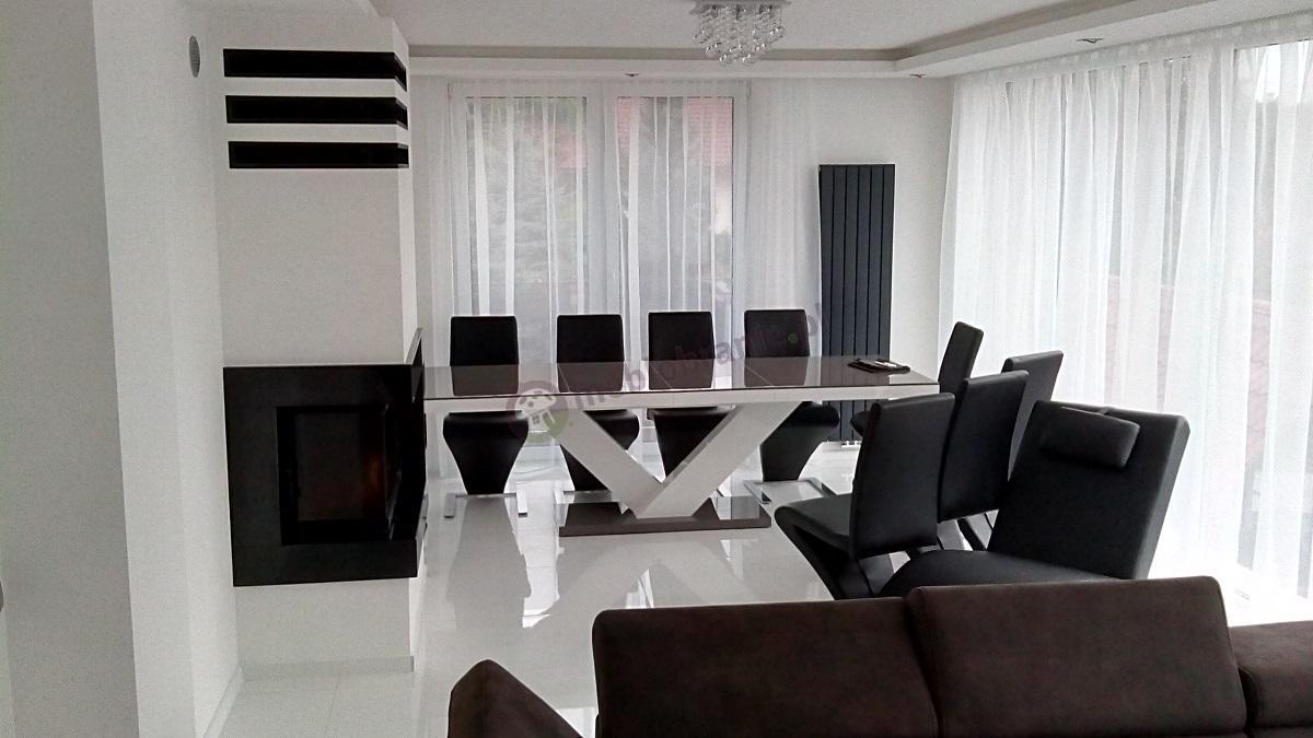 Designerski stół do salonu Victoria szary-biały-szary