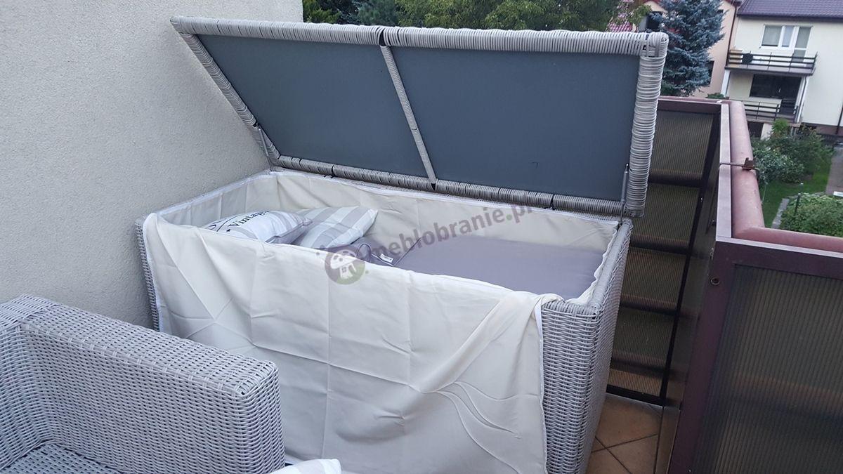 Duża skrzynia z technorattanu do chowania poduszek