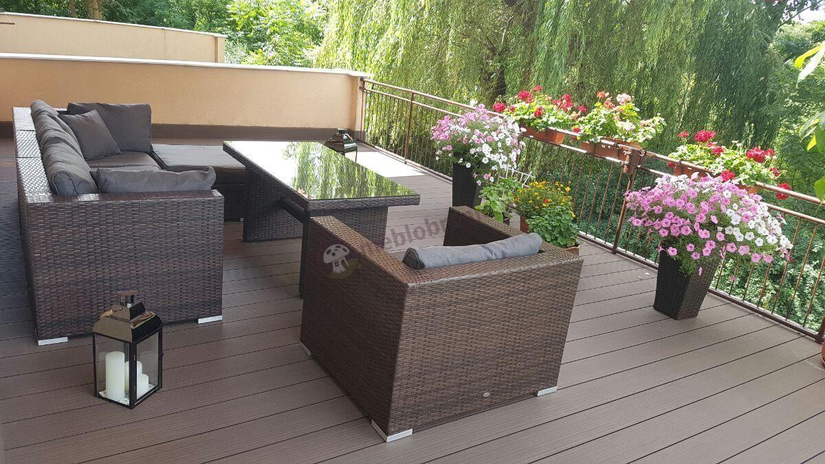 Duże zestawy ogrodowe z technorattanu z wysokimi stołami