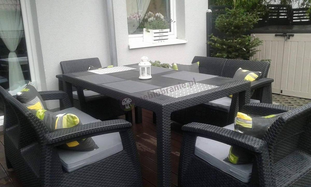 Duży zestaw ogrodowy dla 6 osób z wysokim stołem za mniej, niż 2000 zł