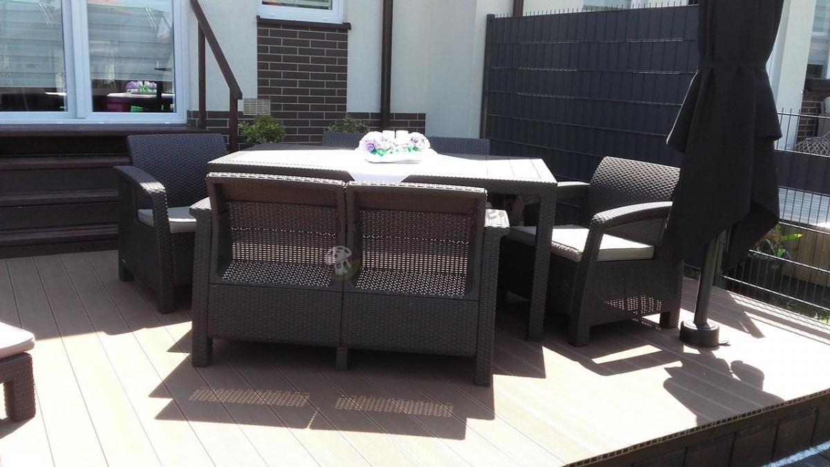 Duży zestaw ogrodowy ze stołem obiadowym Corfu Fiesta brązowy