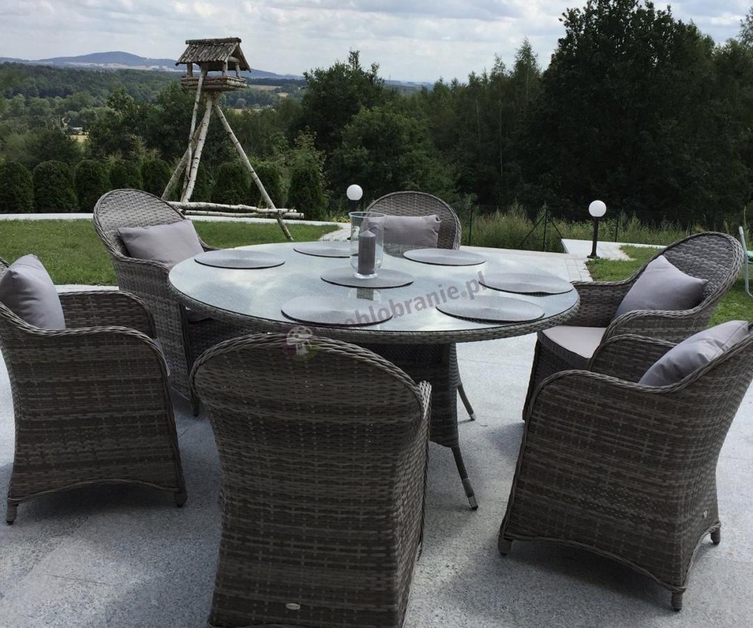 Ekskluzywne meble ogrodowe dla 6 osób z okrągłym stołem Altito
