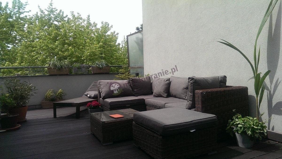 Ekskluzywne meble ogrodowe technorattan brązowy z szarymi poduszkami