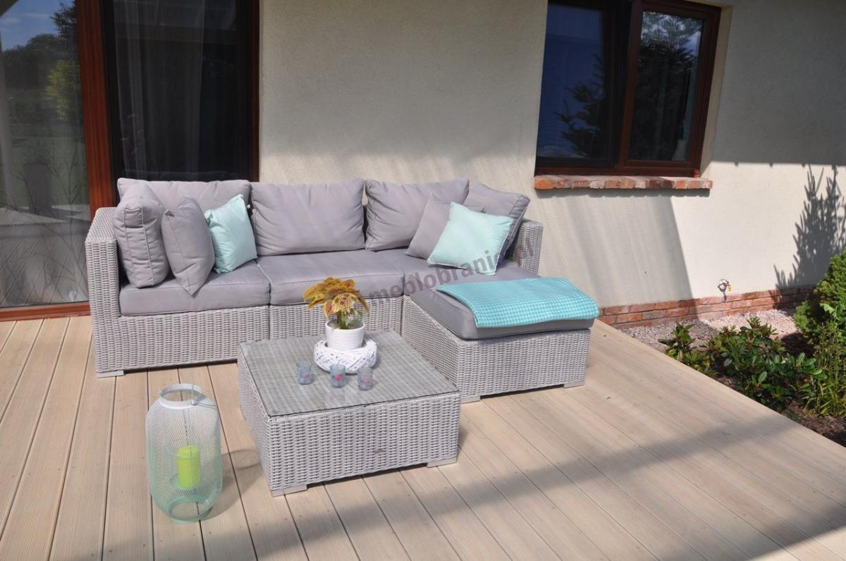 Ekskluzywne meble z serii Ligurito  z półokrągłej, szczotkowanej plecionki technorattanowej na nasłonecznionym tarasie