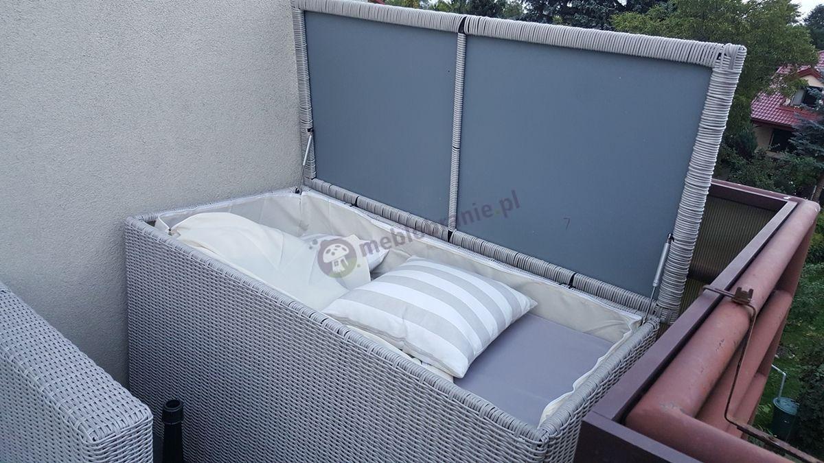 Elegancka skrzynia z technorattanu na poduszki Ligurito