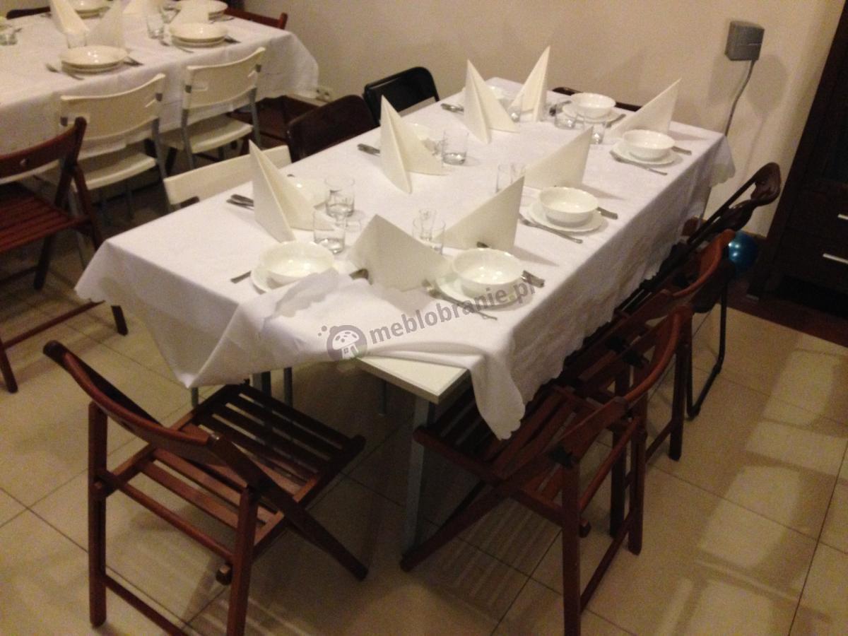 Elegancki stół weselny 180x90 cm w pełnej zastawie
