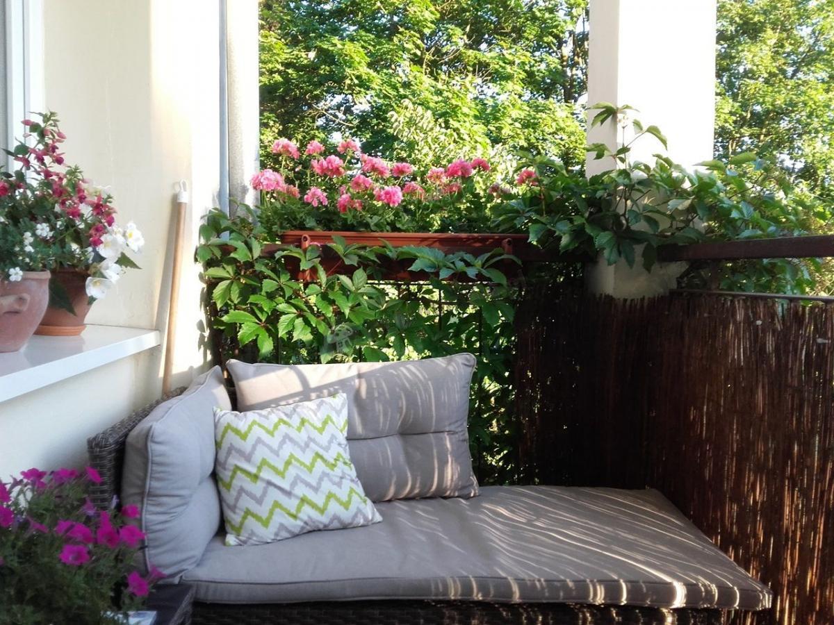 Elegancki technorattan na balkonie Canvas otoczony zielenią
