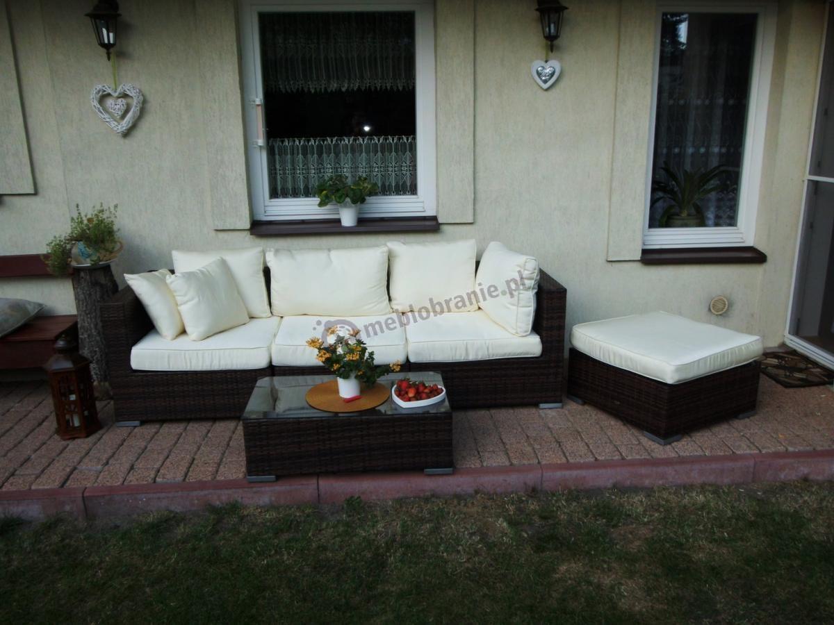 Elegancki zestaw Nilamito V w brązowych i jasnych barwach na werandzie domu