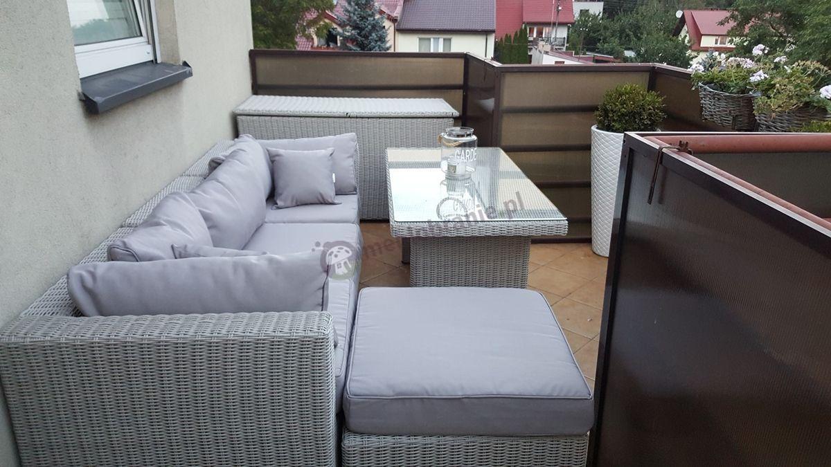 Eleganckie meble z technorattanu do ogrodu na dużym balkonie