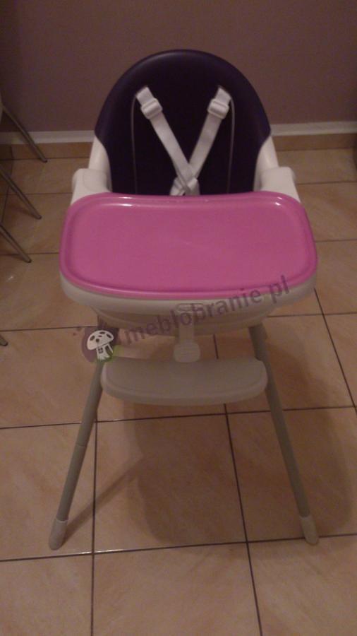 Fioletowe krzesełko do karmienia z szelkami