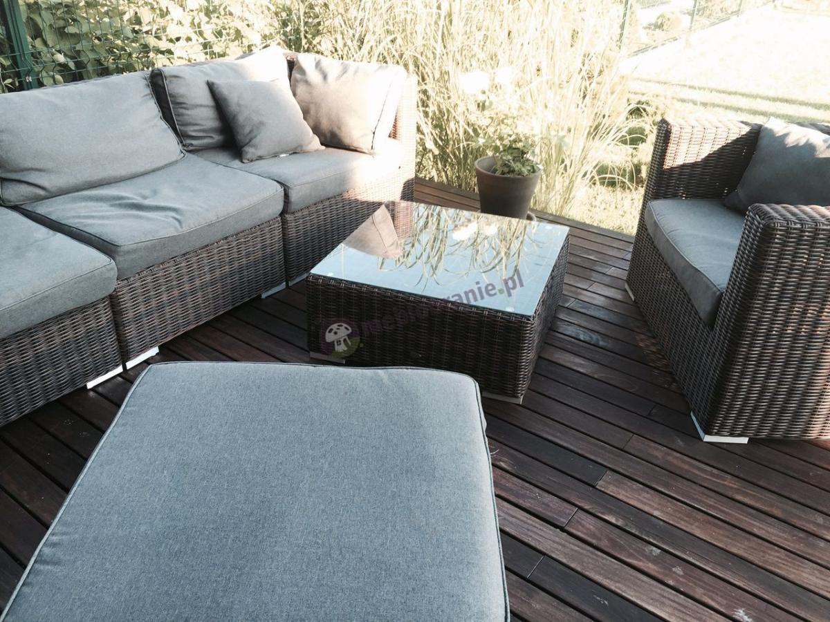 Fotel technorattan szary z brązową plecionką, stolikiem i narożnikiem Ligurito