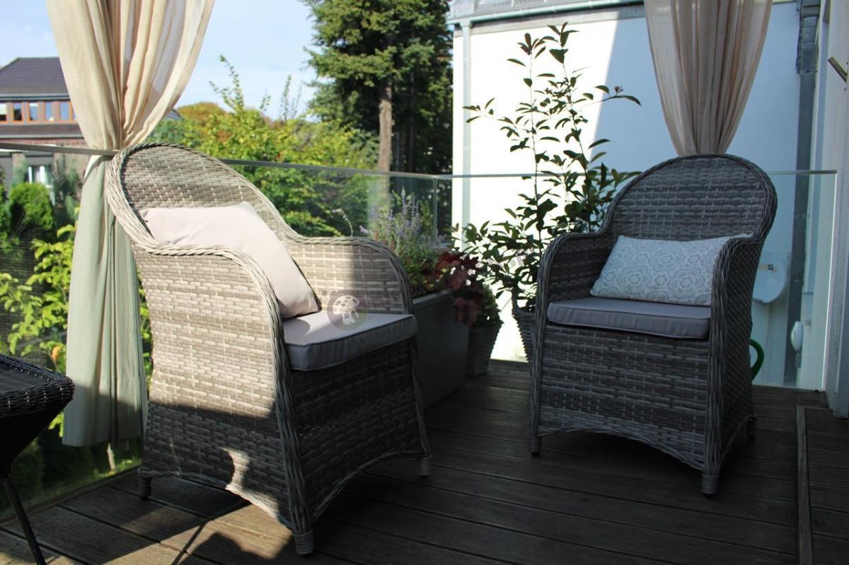 Fotele ogrodowe z technorattanu Altito Doppio Dim Grey & Taupe