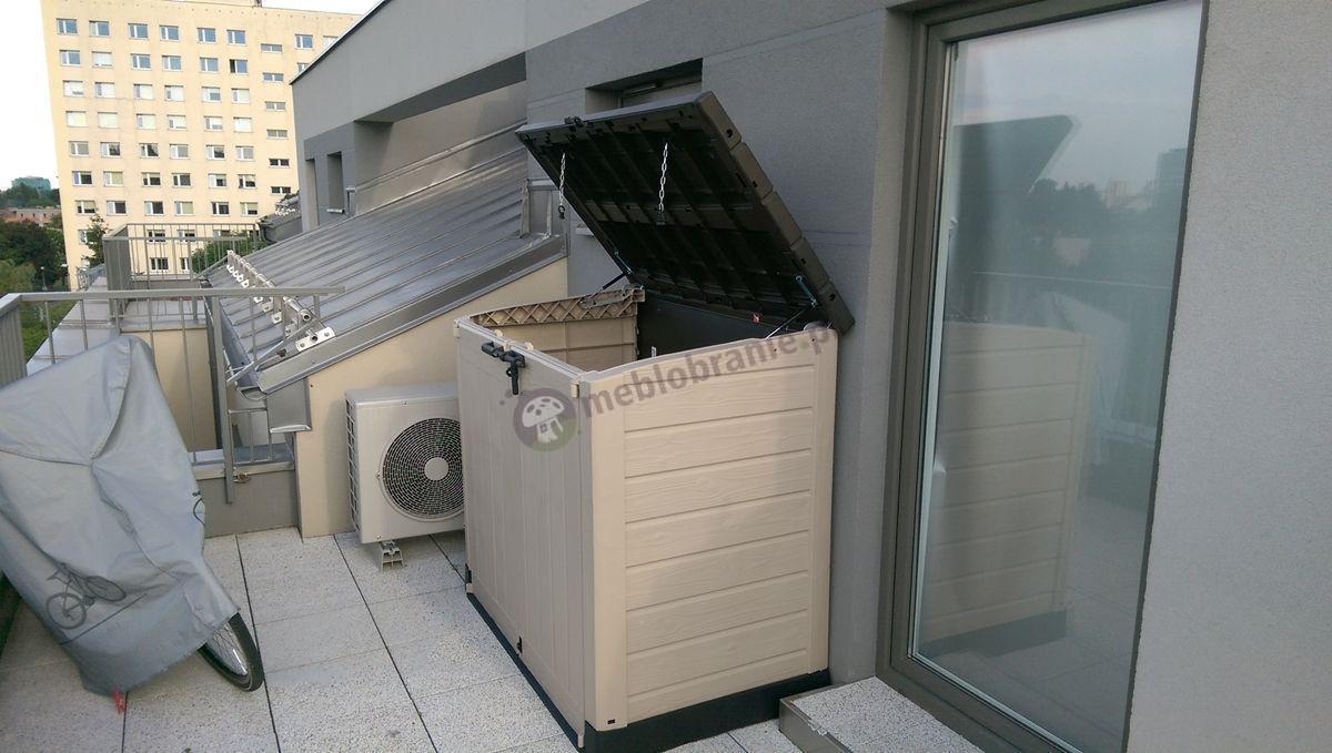 Funkcjonalna szafa balkonowa z podnoszoną pokrywą