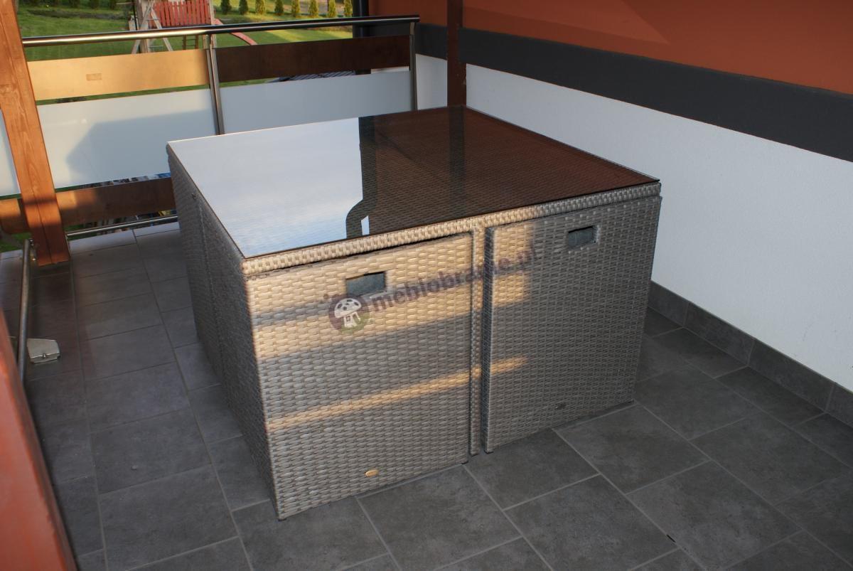Gardinetta meble technorattan Cubioso Grey & Grey u naszego klienta na tarasie