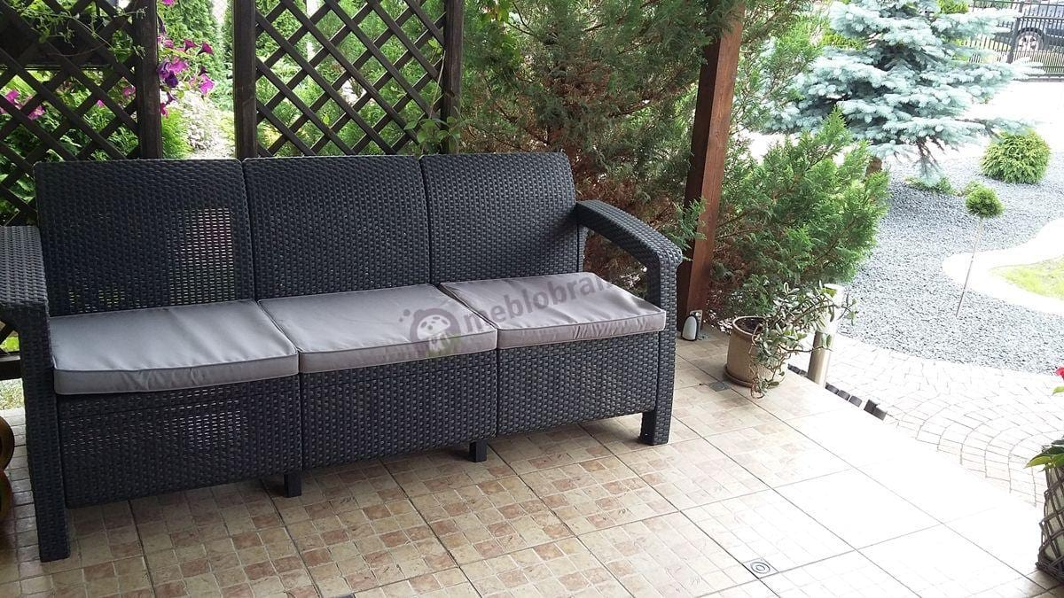 Grafitowa sofa technorattanowa Corfu Love Seat Max