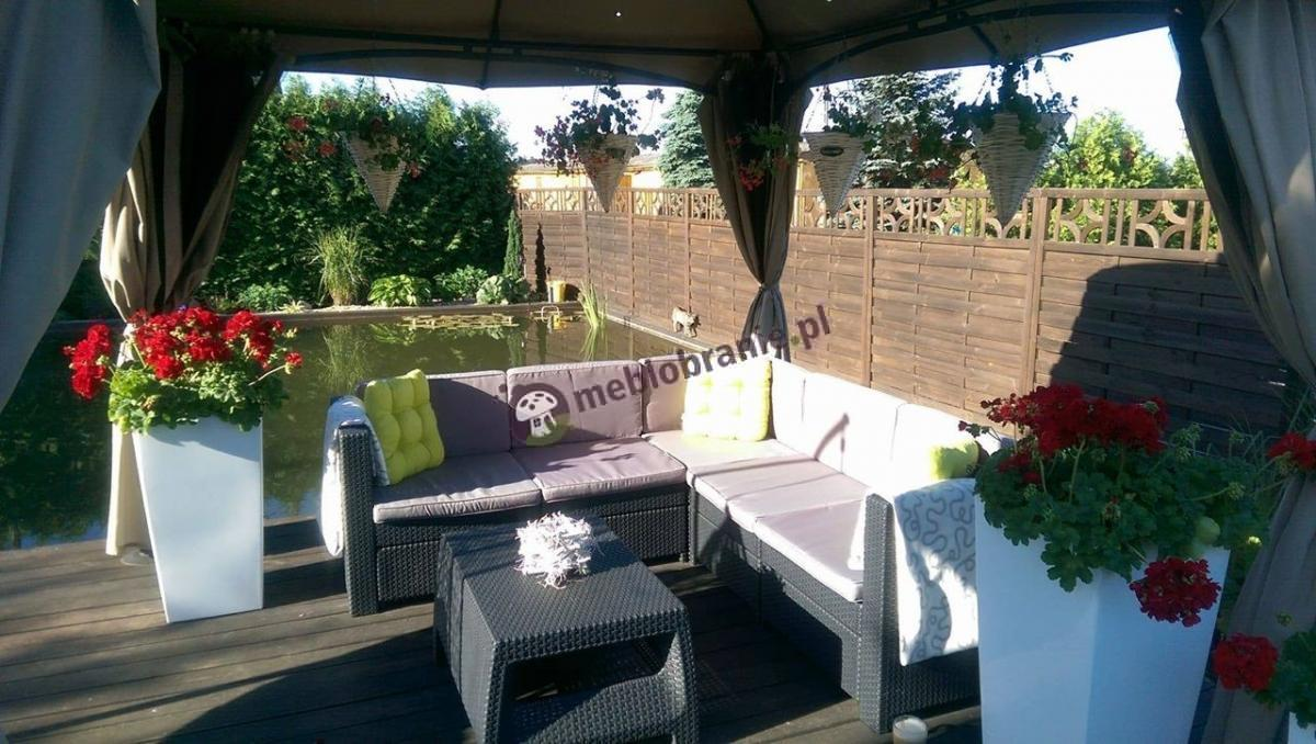 Grafitowe meble tarasowe ogrodowe ze stolikiem kawowym Keter Provence
