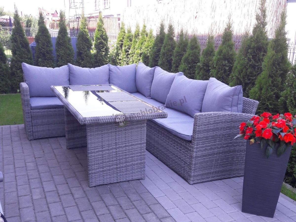 Jasny zestaw narożny do ogrodu z wysokim stołem obiadowym Caprice