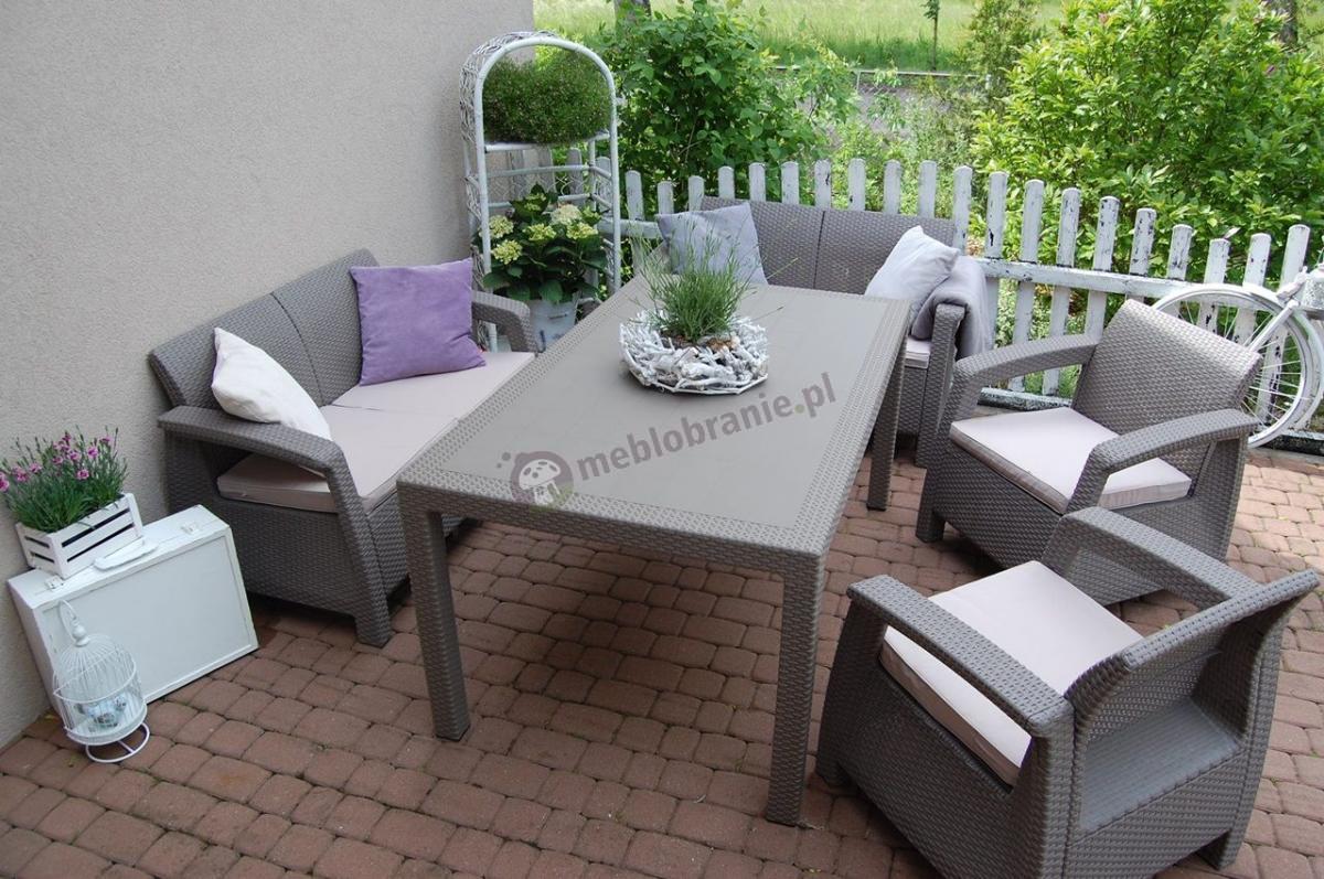 Kawowe meble ogrodowe z dużym stołem obiadowym Corfu Curver Cappuccino