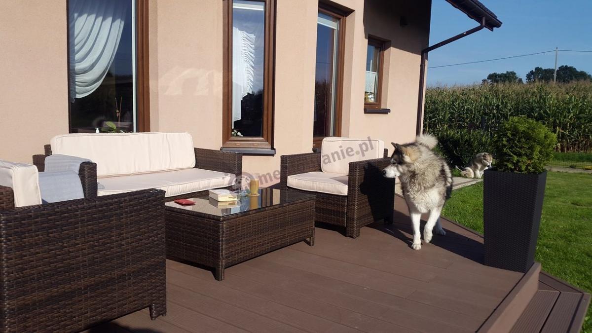 Kawowy zestaw ogrodowy z dużą sofą technorattanową Palencja