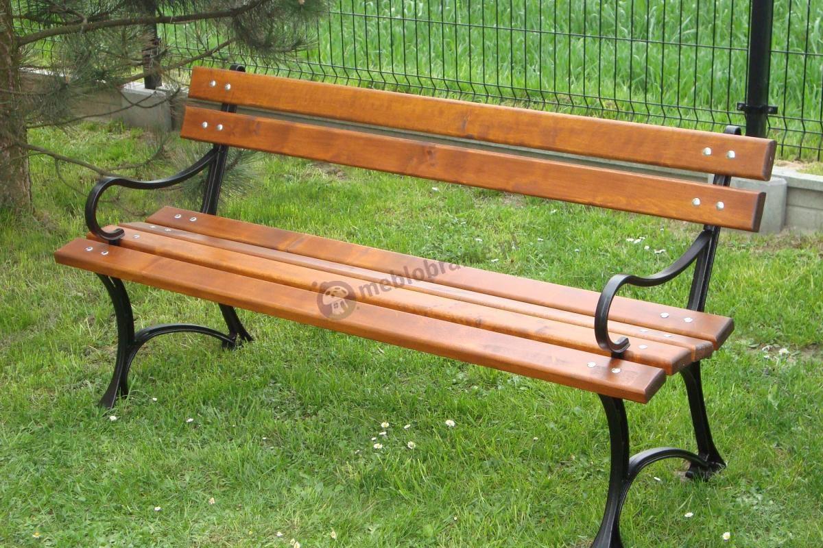 Komfortowa ławka drewniana z połokietnikami, długość 150cm